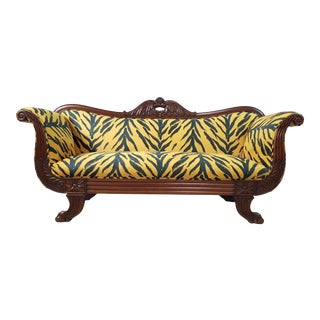 Vintissimo 1940s Biedermeier Solid Sofa Reupholstered With Unique Pattern Design