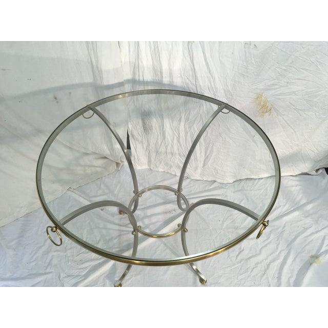 1970s Jansen Style Steel & Brass Table For Sale - Image 5 of 9