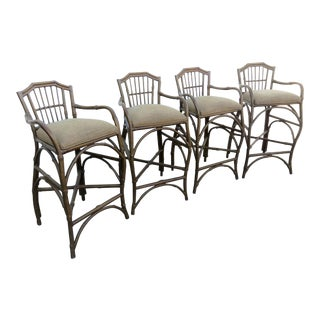 Rustic Rattan Barstools - Set of 4 For Sale