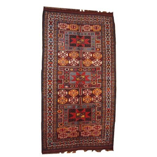 1880s Hand Made Antique Persian Kurdish Rug - 4′ × 8′ For Sale