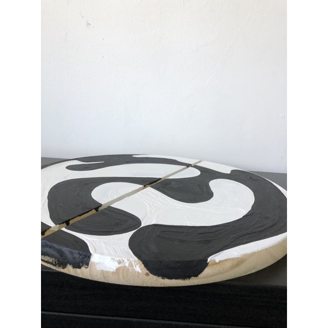 Abstract Black and White Modern Ying Yang Abstract Circle Diptych For Sale - Image 3 of 6