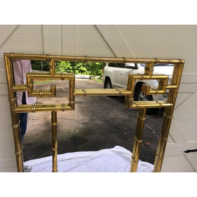 Mastercraft Brass Faux Bamboo Mirror W/Greek Key For Sale In Atlanta - Image 6 of 10