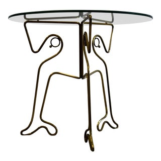 Italian 1940's Brass Side Table For Sale