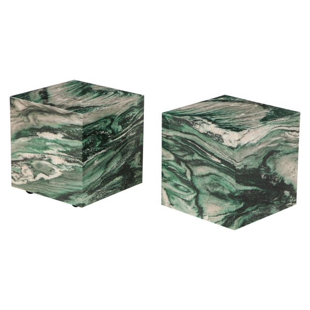 Polar Verde Marble Cubes or Side Tables - a Pair For Sale - Image 11 of 11