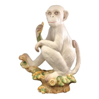Mottahedeh Italian Ceramic Monkey Figurines - a Pair | Chairish