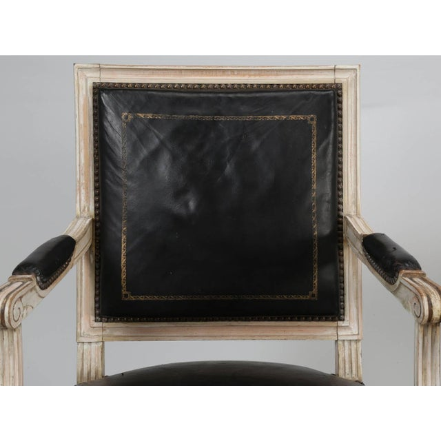 1930s Louis XVI Style Armchairs in Original Paint and Black Leather - Set of 4 For Sale - Image 5 of 13