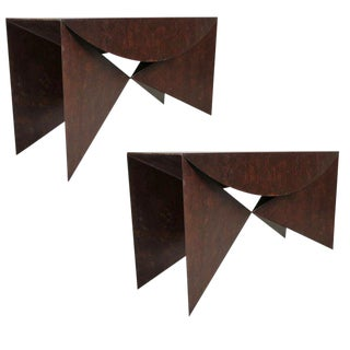 "Custom Pair of Patinated Steel ""Origami"" Consoles For Sale"