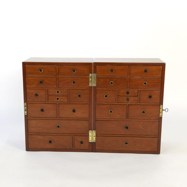 Campaign Campaign Style Solid Mahogany Apothecary Chest, Circa 1860 For Sale - Image 3 of 10