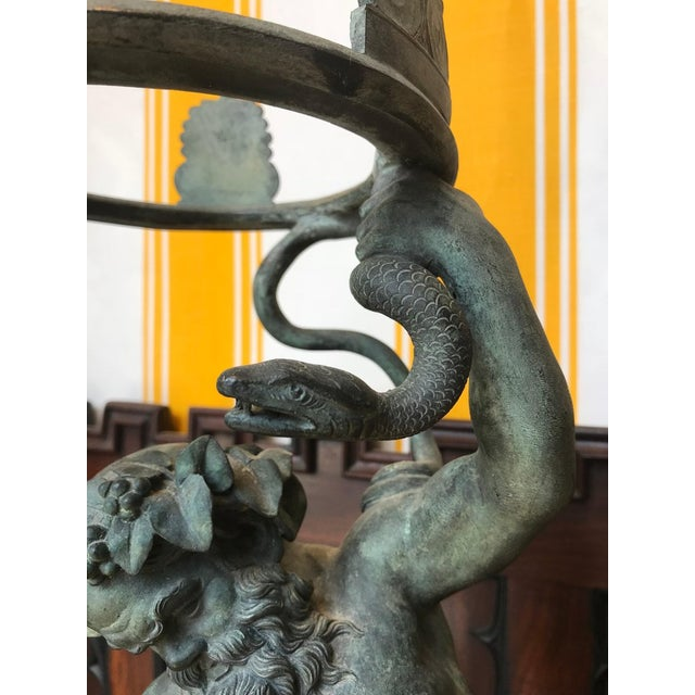 19th Century Grand Tour Patinated Bronze Silenus Lamp For Sale In Boston - Image 6 of 8