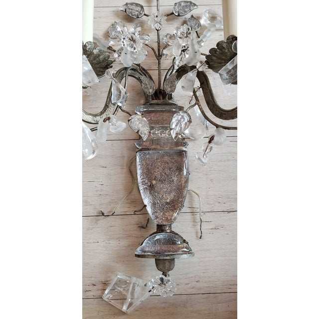 French Vintage Light Rock Crystal Floral Sconces - a Pair For Sale - Image 3 of 5