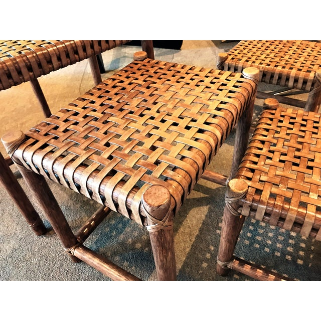 Chestnut 1980s Rustic Modern McGuire Rattan and Laced Leather Nesting Tables or Stools - Set of 4 For Sale - Image 8 of 12