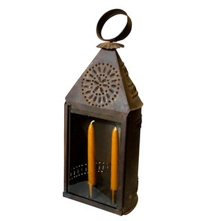 Early 1800s Punched Tin Candle Lantern For Sale