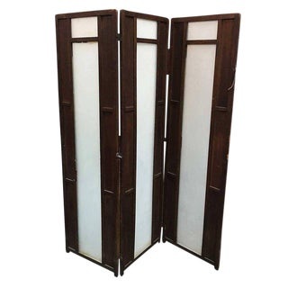 Art Deco Frosted Glass and Oak Slat Folding Screen Room Divider For Sale