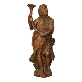 Circa 1650 Carved Hardwood Figural Cornucopia Statue From Italy For Sale