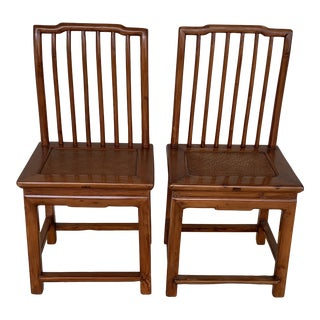 1940s Vintage Straight Back Wooden Chairs- a Pair For Sale