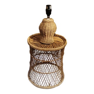 Rattan Side Tabe & Lamp - A Pair
