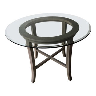 Transitional Crate and Barrel Glass Top Dining Table For Sale