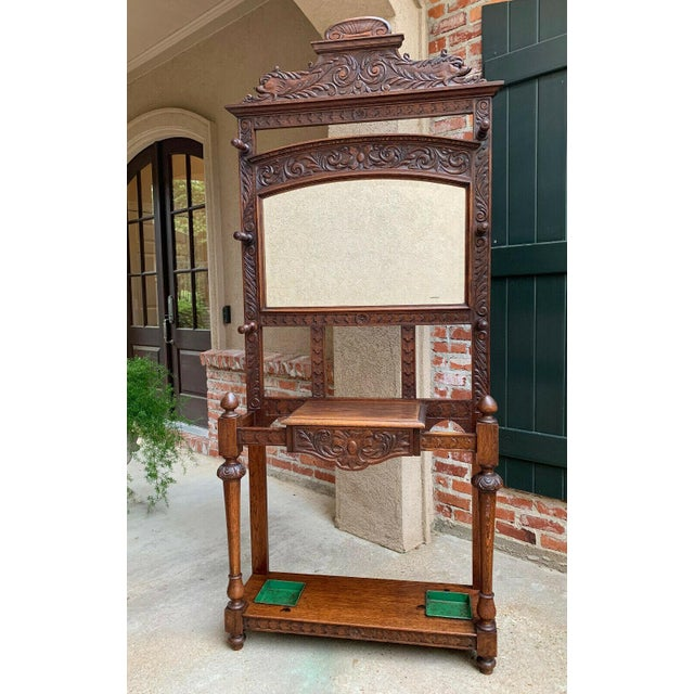 Antique English Renaissance Carved Oak Hall Tree Stand Dome Mirror Coat Hat Rack For Sale - Image 9 of 13