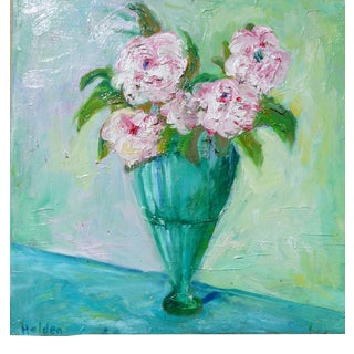 French Impressionist Oil Painting Flowers in a Green Vase For Sale