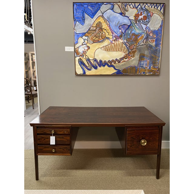 Stunning Vintage Mid Century Modern Rosewood Executive Desk 1960s Brass Hardware Beautiful For Sale - Image 10 of 10