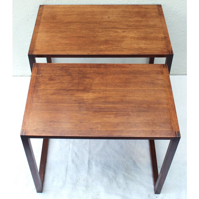 Karl Erik Ekselius Set of Two Swedish Nesting Tables by Karl Erik Ekselius For Sale - Image 4 of 9