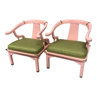 Mid-Century Ming Style Chairs in Pink and Green - a Pair For Sale