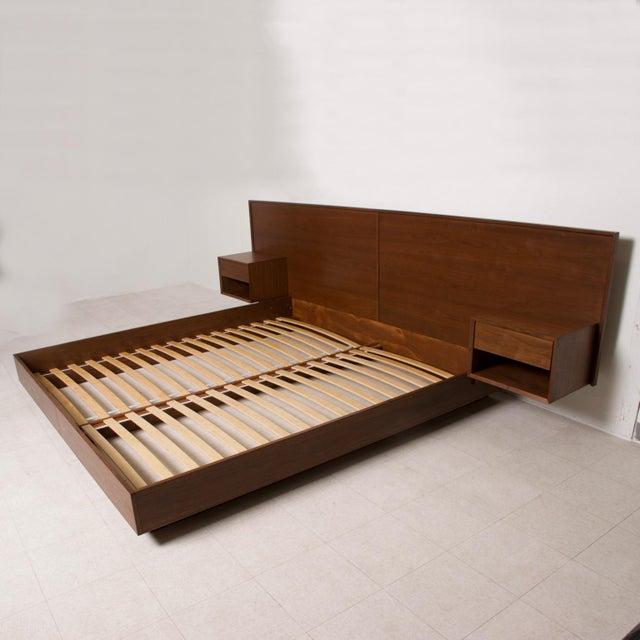 Modern Walnut King Size Platform Bed With Floating Nightstands For Sale - Image 11 of 11