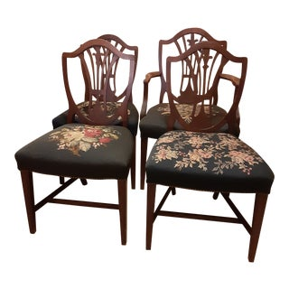 Marked Down- Moving. Vintage English Shield Back Mahogany Needlepoint Seat Chairs- Set of 4 For Sale
