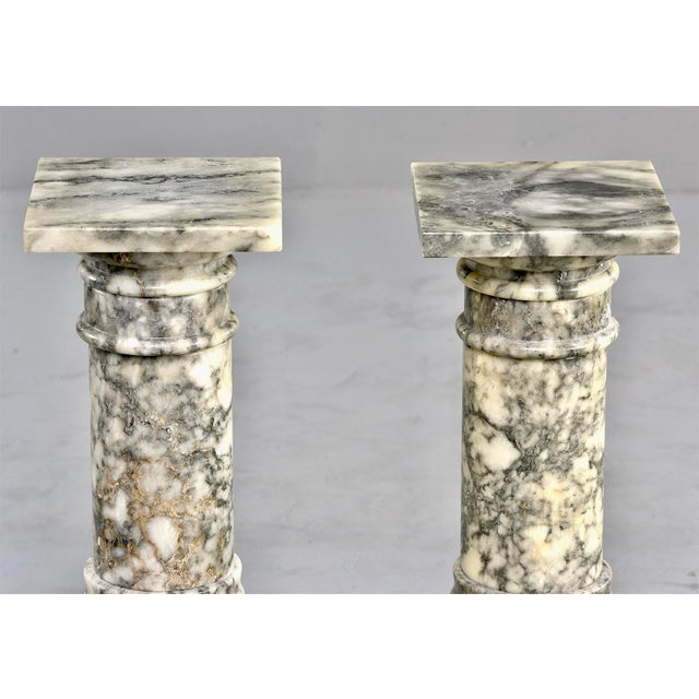 Italian Carved Marble Columns or Pedestal Stands - a Pair For Sale - Image 4 of 12