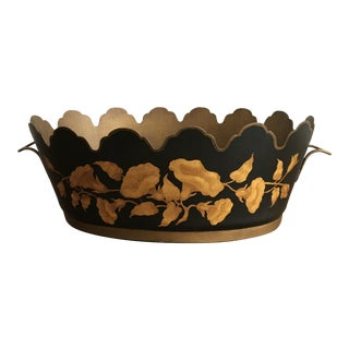 Vintage Black & Gold Oval Toleware Cachepot/Planter For Sale