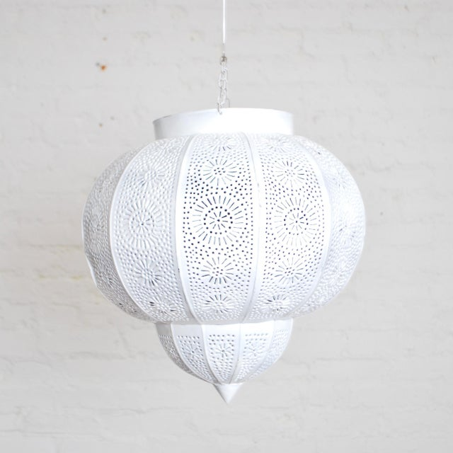Contemporary Moroccan White Painted Metal Hanging Lamp For Sale - Image 3 of 3