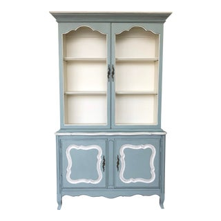 1960's Vintage French Provincial China Cabinet For Sale