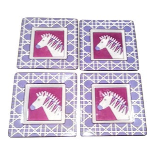 Set of 4 Jonathan Adler Purple Unicorn Small Appetizer Dishes Plates For Sale