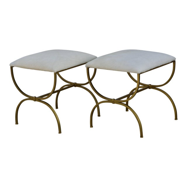 Pair of Gilt Wrought Iron and Hide Stools by Design Frères For Sale
