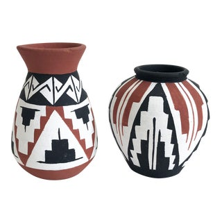 Vintage Chilean Hand Painted Pottery Bud Vases - Set of 2 For Sale