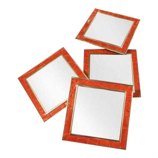 Orange Crocodile Leather Mirrored Coasters - Set of 4