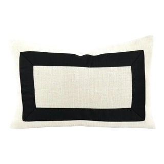 "Jane Churchill Darwin in Cream With Black Square Ribbon Embellished Lumbar Pillow Cover - 13"" X 20"" For Sale"