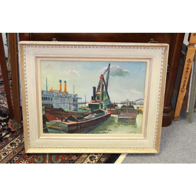Early 20th Century Antique Buccholz Shipyard Scene Painting For Sale In New York - Image 6 of 6