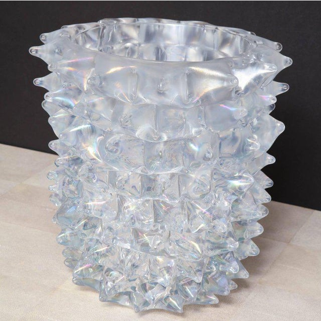 2010s Enormous Signed Sinoretto Murano Iridescent Clear Glass Spiked Vase For Sale - Image 5 of 10