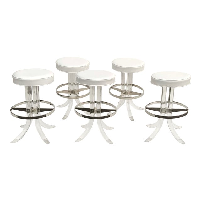 1970s Vintage Swiveling Lucite Bar Stools- Set of 5 For Sale