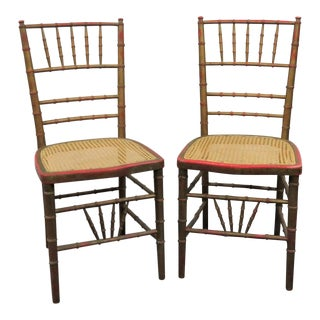 Faux Bamboo Gold Distressed Side Chairs - a Pair For Sale