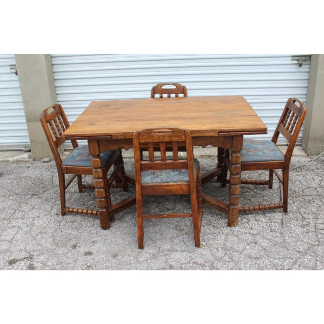 Mid-Century Rustic Solid Wood Table & 4 Chairs - Dining Set - Image 6 of 6