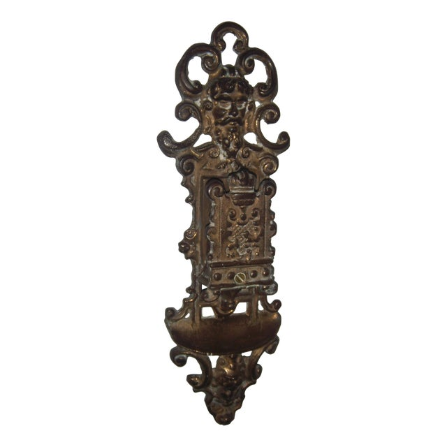 Ornate Brass Wall Mount Match Holder - Image 1 of 10