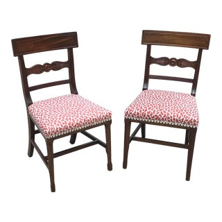 Regency Mahogany Dining Chairs With New Animal Print Upholstery - a Pair For Sale