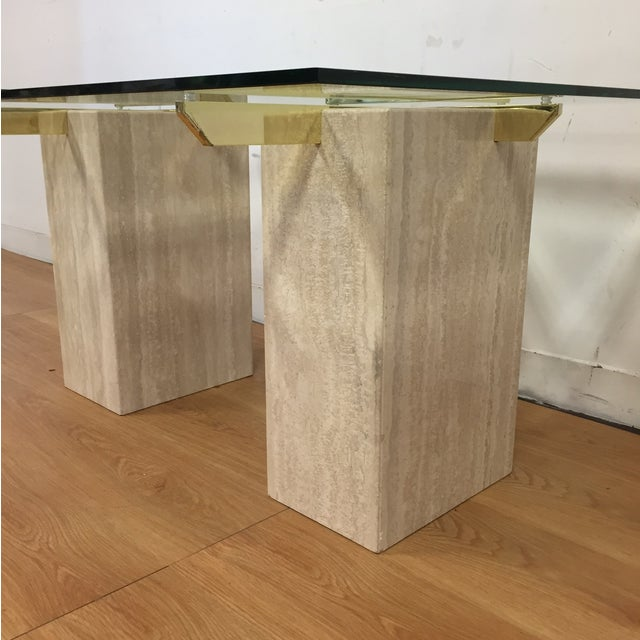 Travertine Brass and Glass End Tables - A Pair - Image 7 of 9
