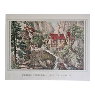 1950s Vintage Old Swiss Mill Puzzle Picture Currier & Ives Print For Sale