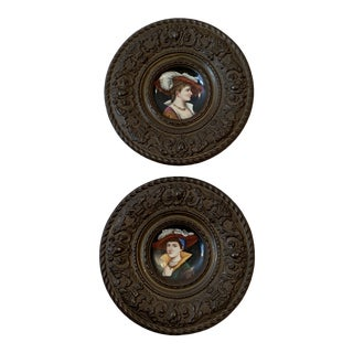 Renaissance Brass Framed Porcelain Hand Painted Plaques - a Pair For Sale