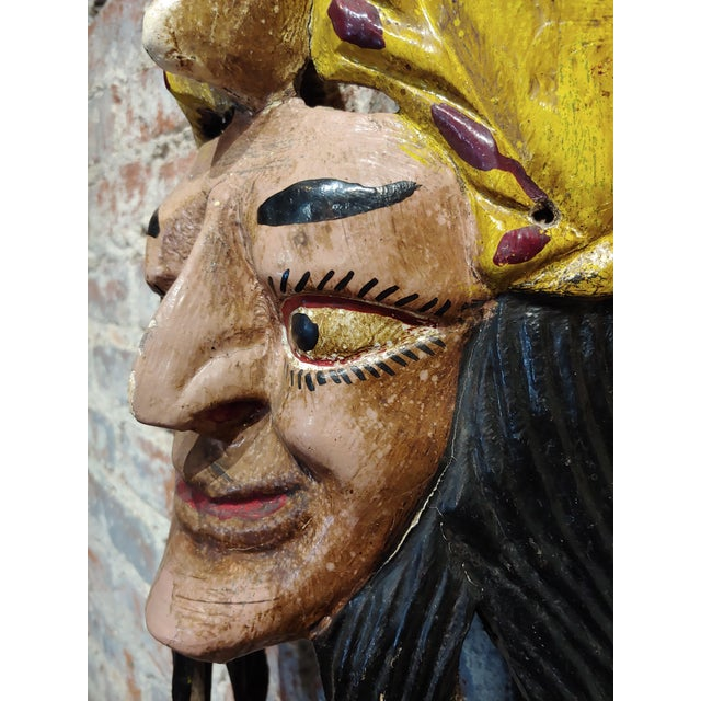 Mexican Mask -Antique Painted Wood Carved For Sale In Los Angeles - Image 6 of 9