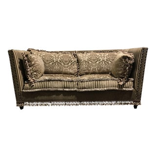 Boho Chic Down Filled Brocade Tassel Sofa For Sale