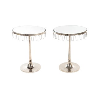 A Pair of Mirrored Top Side Tables For Sale